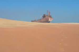 Shipwreck of the United Malika in Cap Blanc, Mauritania. CC photo by Jbdodane.
